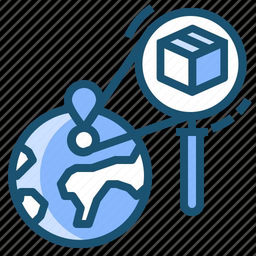 globe, location, search, tracking, world icon