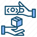 box, cash, hand, money icon