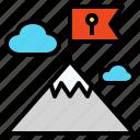 destination, final, flag, goal, high, mountain, peak