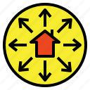 expand, export, exportation, move, out, trade icon