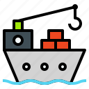 cargo, carry, freighter, logistics, ship, vessel icon