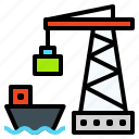 cargo, crane, freighter, logistic, port, ship icon
