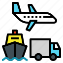 airplane, boat, carry, logistics, transport, transportation, truck icon
