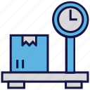 carton, logistics delivery, measure, scale, weight icon