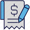 dollar, list, logistics delivery, pencil, receipt icon