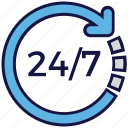 24 hours, 24/7, arrow, logistics delivery, service icon
