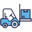 box, carton, forklift, logistics delivery, shipping, transport icon
