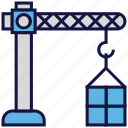 box, carton, crane, logistics delivery, shipping icon