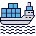 boat, boxes, carton, logistics delivery, ocean, ship, shipping icon
