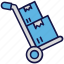 boxes, carton, logistics delivery, shipping, trolley icon