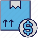 box, carton, dollar, logistics delivery, money, parcel icon