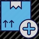 add, box, carton, logistics delivery, parcel icon