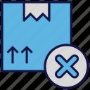 box, carton, logistics delivery, parcel, reject icon