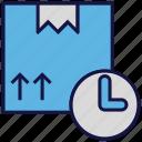 box, carton, clock, logistics delivery, parcel, time icon