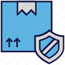 box, carton, logistics delivery, parcel, protection, shield icon