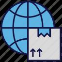 box, carton, globe, international delivery, logistics delivery, world icon