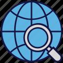 globe, logistics delivery, magnifier, search, world icon