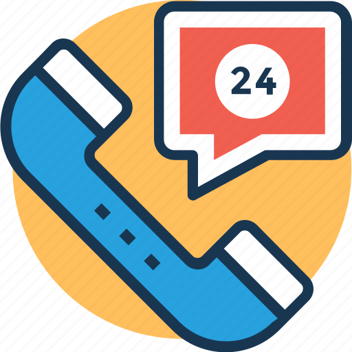 24 hours service, call center, customer support, emergency service, helpline icon