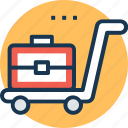 freight, hand truck, luggage cart, push cart, traveling icon