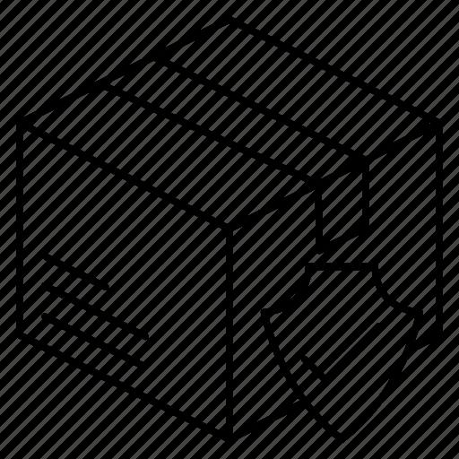 box, parcel, secure, shield icon