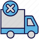 logistics delivery, reject, shipping, transport, truck icon