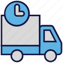 logistics delivery, shipping, time, transport, truck icon