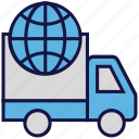 logistics delivery, shipping, transport, truck, world icon