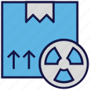 box, carton, logistics delivery, nuclear, parcel, toxic icon