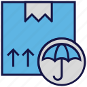 box, carton, insurance, logistics delivery, parcel, umbrella icon