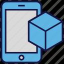 box, carton, logistics delivery, mobile, online delivery icon