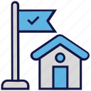 flag, house, location, logistics delivery, shipping icon