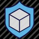 box, carton, logistics delivery, protection, shield icon