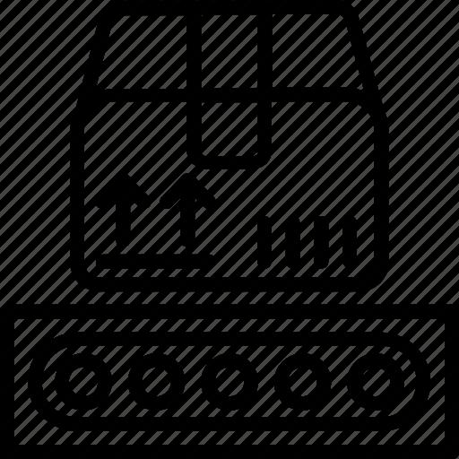 conveyor belt, conveyor belt box, package sorting, product distribution icon