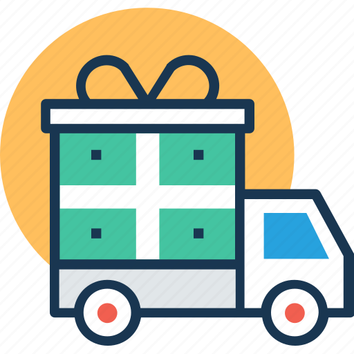 delivery service, delivery van, festive delivery, gift delivery, logistics icon