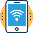 communication, smartphone, wi-fi hotspot, wifi connected, wireless technology icon