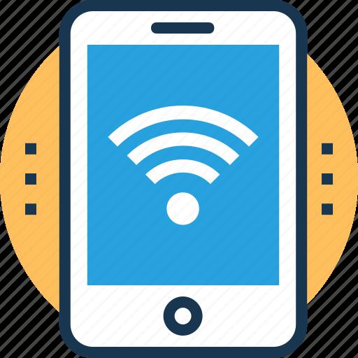 communication, smartphone, wi-fi hotspot, wifi connected, wireless technology icon