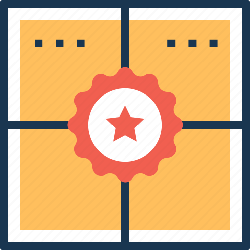 delivery box, package, packed box, parcel, tagged package icon