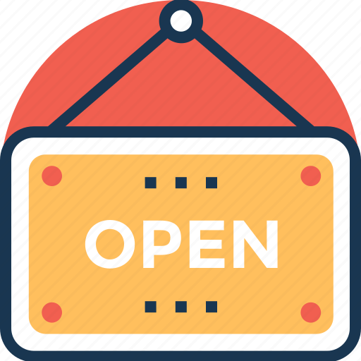 market sign, open signboard, open tag, shop message icon