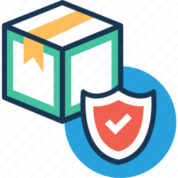 courier, package, secure logistics, shield, shipping icon