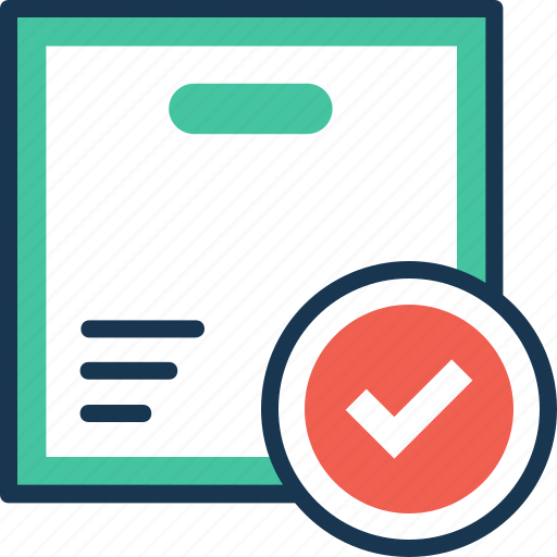 ddp, delivered box, delivery approved, delivery package, delivery verification icon