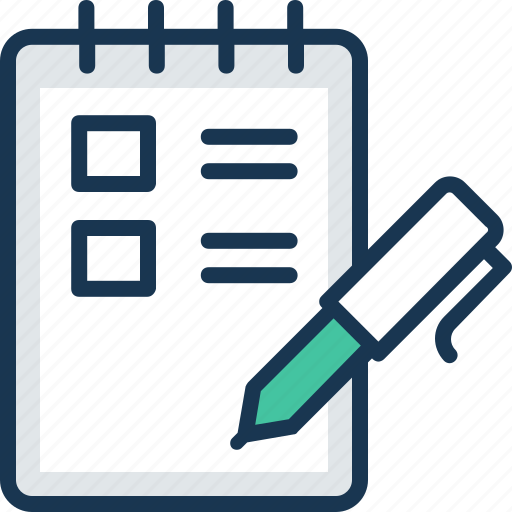 agenda list, agreement, notepad, pen, report icon