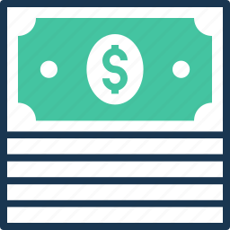 banknotes, currency stack, dollars, money stack, paper money icon