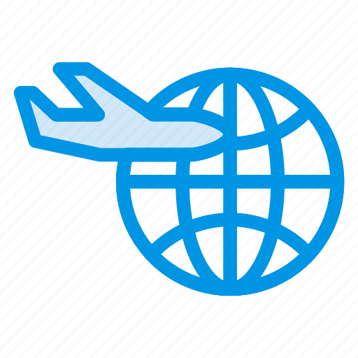 airticket, browser, flight, internet, online, plane, world icon