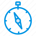 compass, direction, gps, navigation, stopwatch, tracking, waiting icon