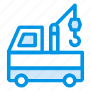 auto, crane, shipping, transport, truck, van, vehicle icon