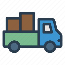 auto, boxes, delivery, shipping, transport, truck, van icon