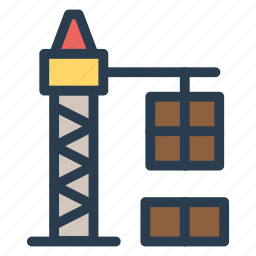 boxes, building, crane, delivery, lifter, lifting, tower icon