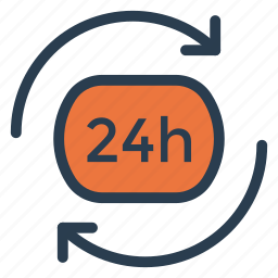 callservice, customer, emergency, hour, hours, support, time icon