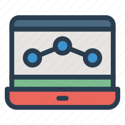 analytic, computer, device, graph, laptop, report, screen icon
