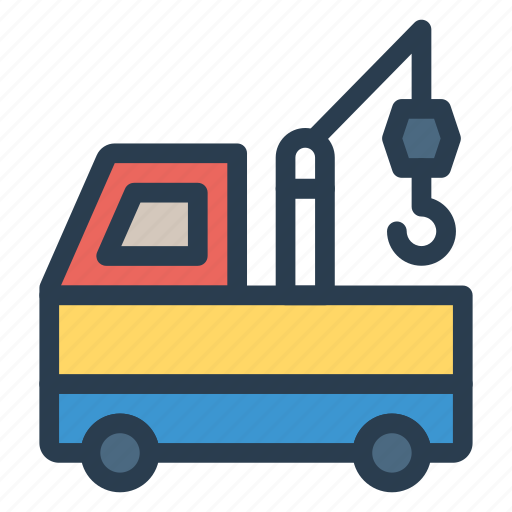 auto, crane, shipping, transport, truck, van, vehicle icon